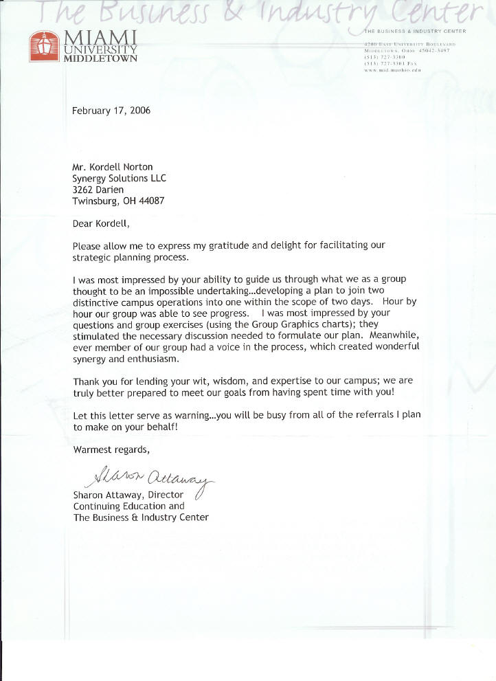 Miami University Letters Of Recommendation