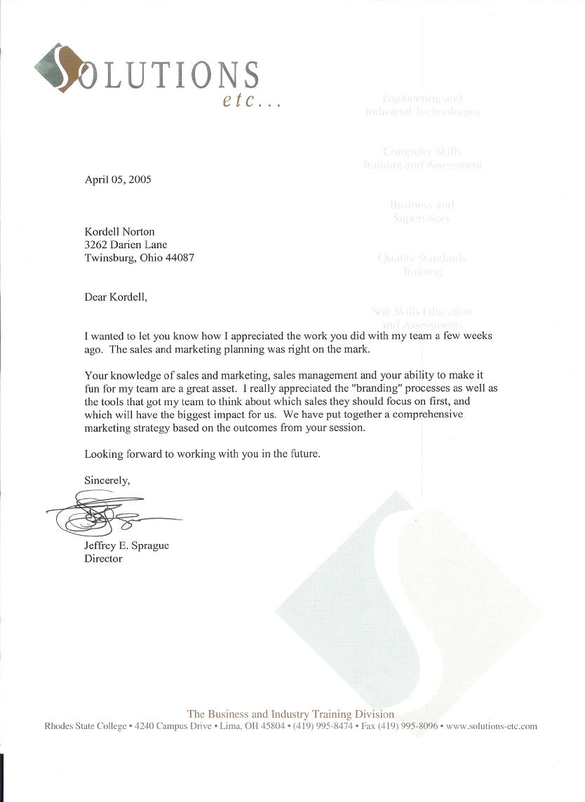 Reference letter for Kordell Norton as a facilitator of Sales Training – Employee Reference Letters