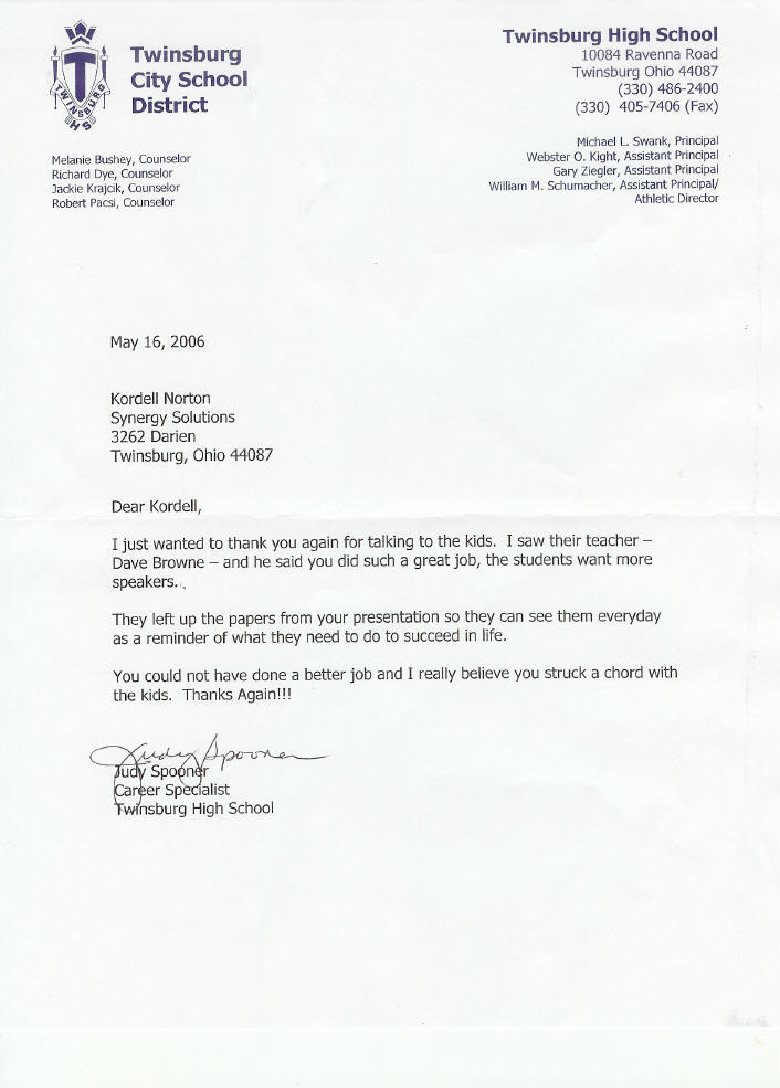 reference letter for kordell norton for keynote speech to high school students