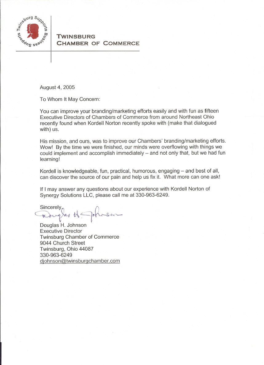 Reference letter for Kordell Norton from Twinsburg Chamber of erce